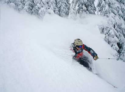 Rentals - Skier riding deep powder