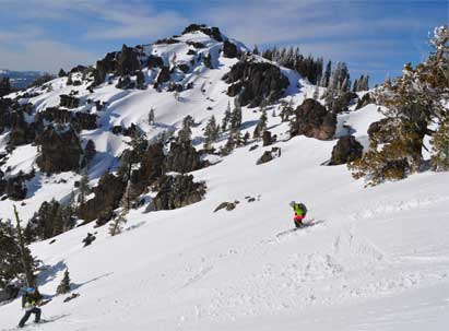 skier riding in the sugar bowl backcountry