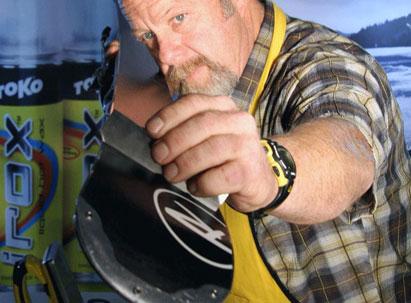 The man himself Willie Wiltz hand tuning some ski edges