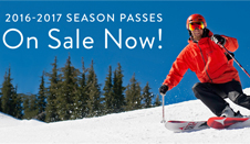 Season Passes - 2016 2017 season passes on sale now - Skier riding on groomer