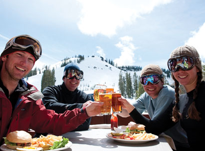 The Belt Room Bar at Sugar Bowl - Skiers enjoying burgers and beer on the lodge deck