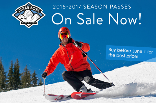 Sugar Bowl Season Passes on Sale - Picture of skier coming down the mountain with season pass call-to-action messaging on top of image