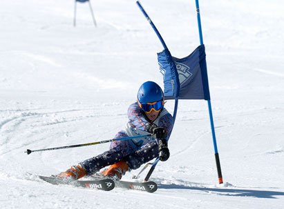 Ski Racing - Skier turning through gate