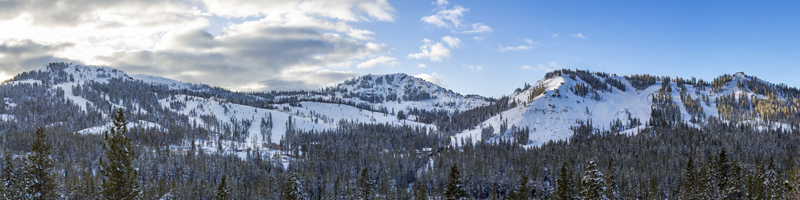 A Panoramic with all four peaks of a snow covered sugar bowl