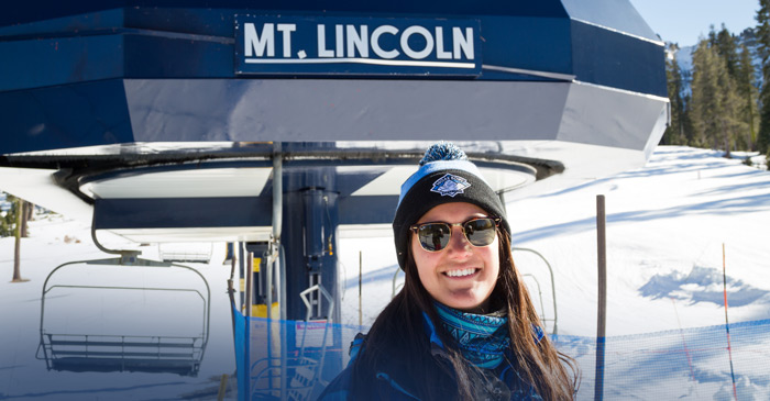 Ticket Checker in front of Mt. Lincoln at Sugar Bowl Resort