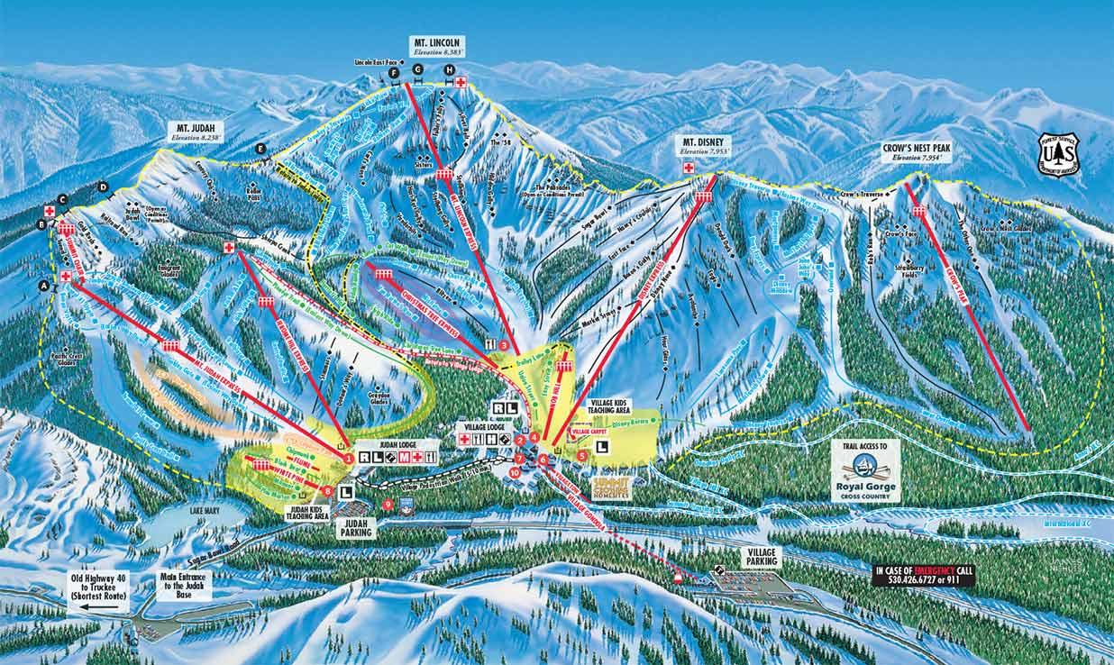Sugar Bowl Trail Map showing lifts and runs.