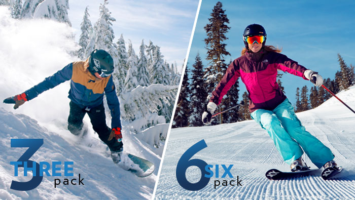 Skier and Snowboarder enjoying discounted tickets with the 3 pack and 6 pack.