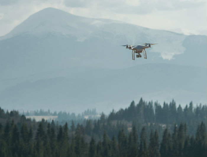 Drone flying above a forrest with mountains in the background.