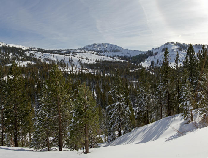 Panoramic image of Sugar Bowl resort from the north on a sunny day.
