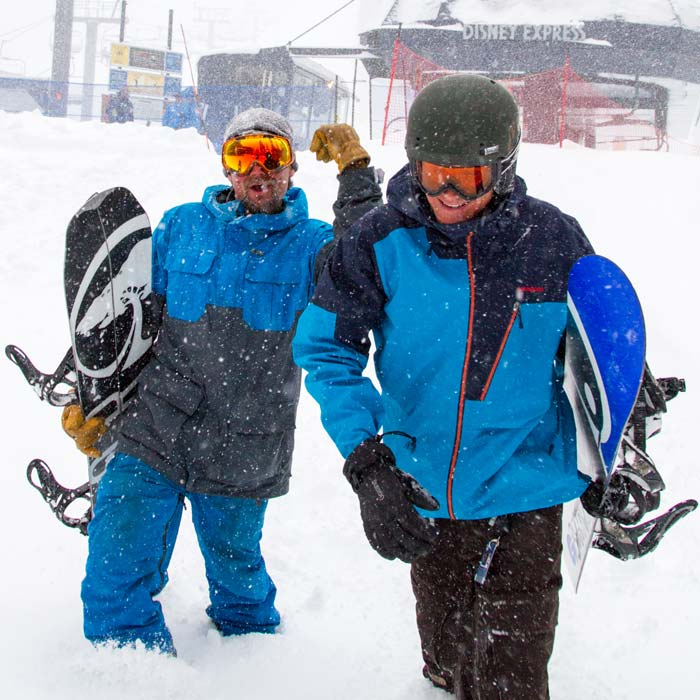 Friends enjoying the new snow at Sugar Bowl Ski Resort
