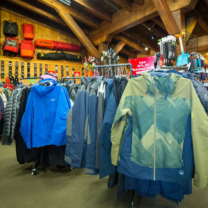 Outdoor Winter Clothing available at the retail outlet at Sugar Bowl Ski Resort.
