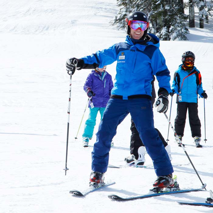 Ski Instructor giving a kids lesson at Sugar Bowl Ski Resort