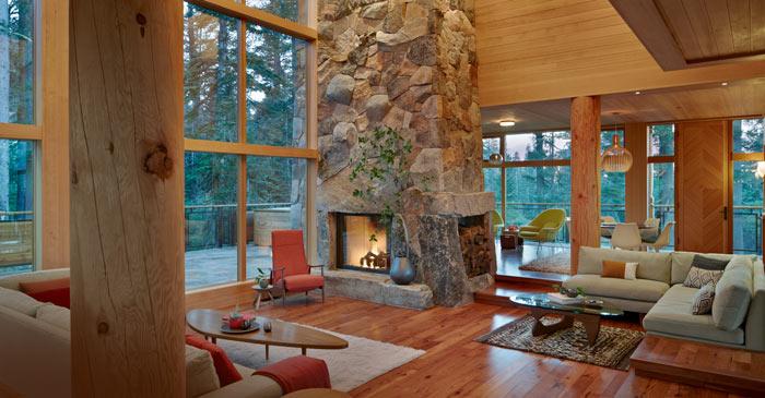 Interior living room of a mountain cabin home at Sugar Bowl Ski Resort