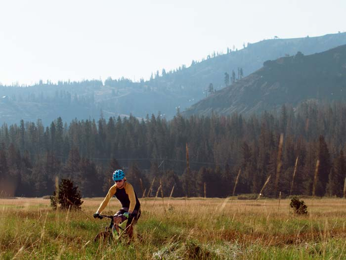 Mountain Biker in the Van Norden Meadow near Sugar Bowl Ski Resort and Royal Gorge