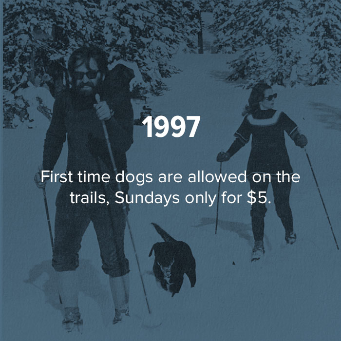 1997 The first time dogs are allowed on the trails. Sundays only, for $5.
