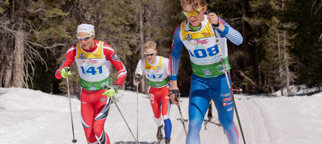Royal Gorge Events - 3 skiers in a classic cross country skiing race