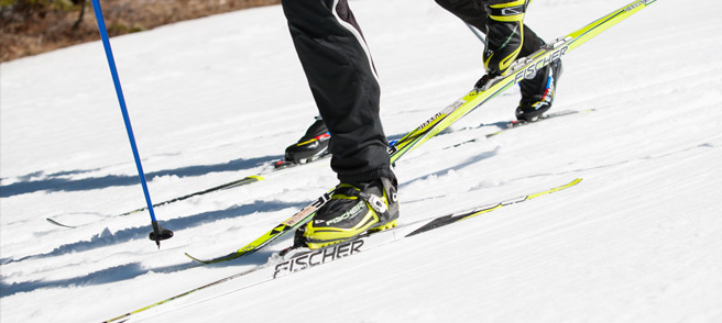 Cross Country Tuning - Close up of Skis in track