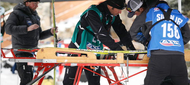 Cross Country Tuning - Racers tune skis under pop up