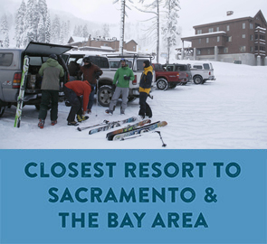Closes Resort to Sacramento and the Bay - People unloading ski gear in the Sugar Bowl parking lot