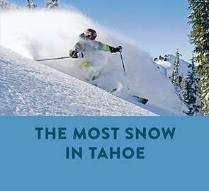The Most Snow in Tahoe - Skier Turning in Powder