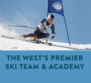 The west's Premier ski team and academy - Ski racer turning through a gate
