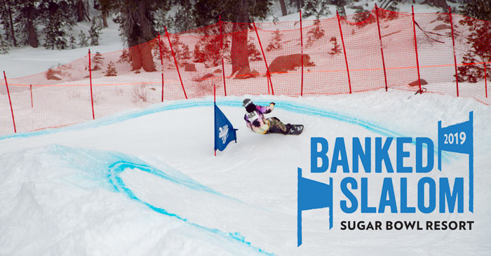 Snowboarder racing down the Banked Slalom at Sugar Bowl Ski Resort