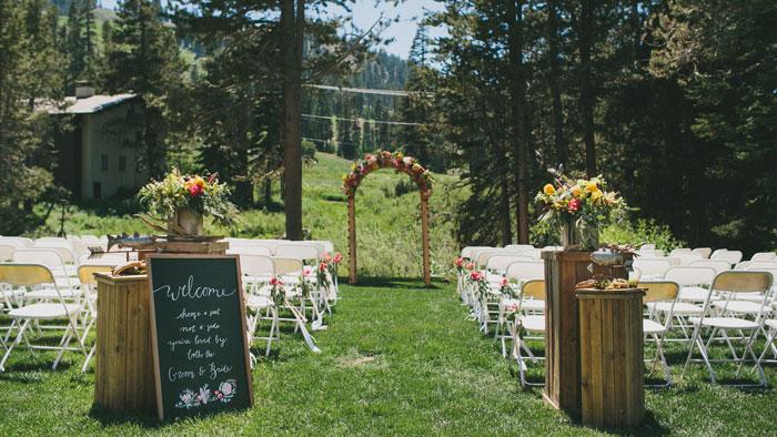 Summer Wedding Venue in front of the Village Deck.
