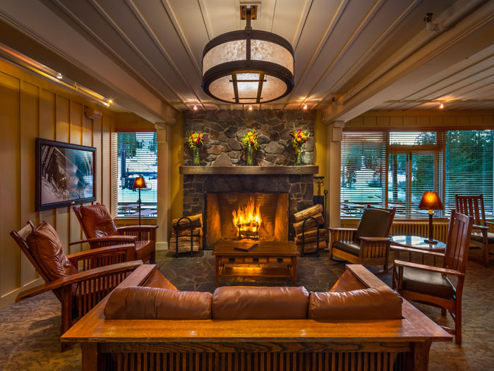 Hotel Lobby with a warm fireplace at Sugar Bowl