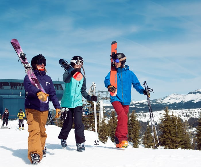 Skiers and Snowboarders using their discounted lift tickets to gain access to Sugar Bowl's terrain.