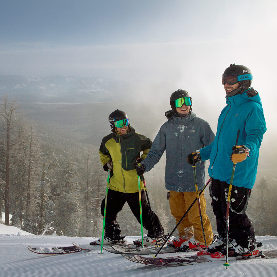Group of Skiers and Snowboarders at Sugar Bowl