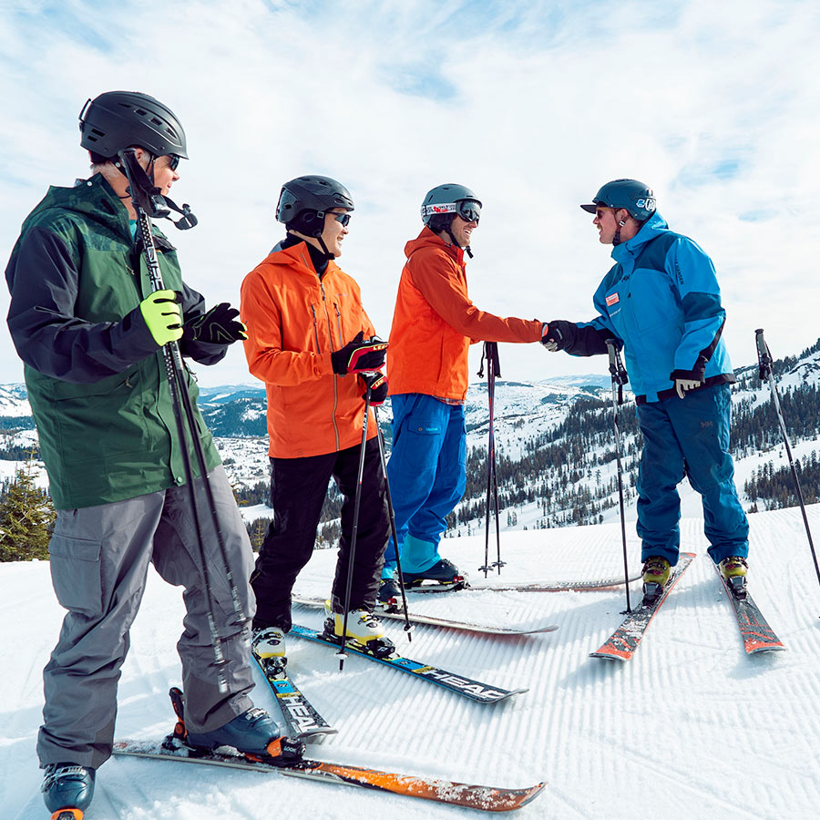 Ski school group lesson with instrcutor, best for beginners at lake tahoe