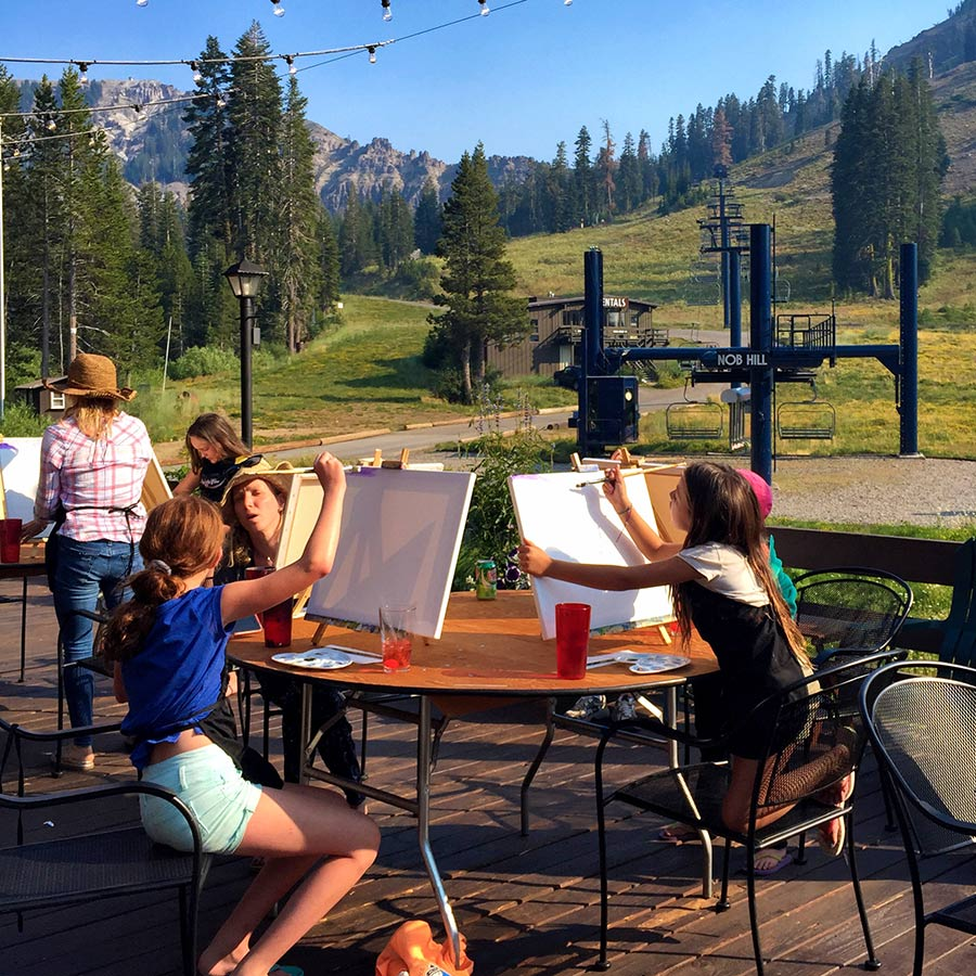 Summer campers create art at the base of the mountain at Sugar Bowl Summer Camp