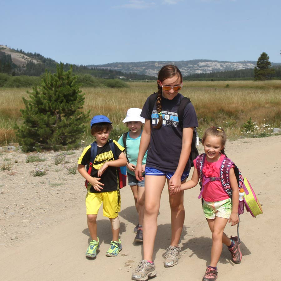 Campers hike through a meadow with a friendly camp councilor at Sugar Bowl Summer Camp