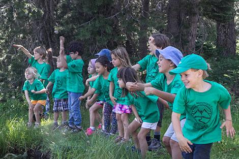 Kids Campers skipping rocks at Lake Mary