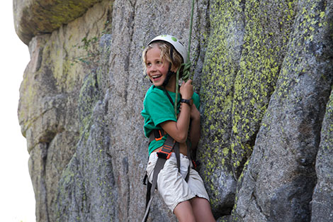 Kids Camper Rock Climbing on Old 40 on Donner Summit.