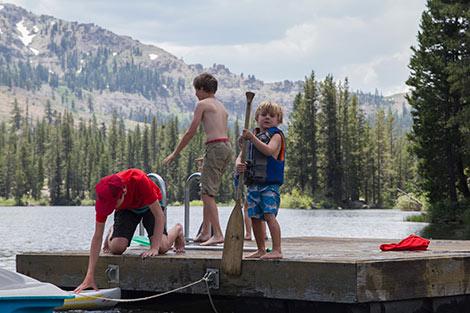Child playing at Lake Mary at Sugar Bowl