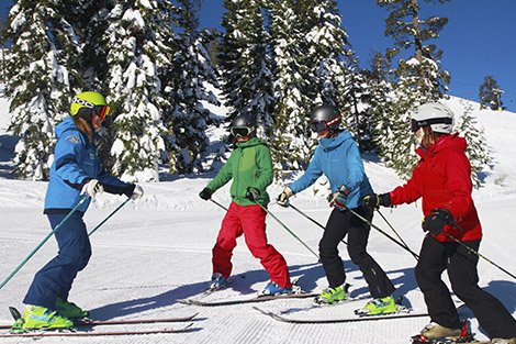 Group of new skiers learning from their experienced Sugar Bowl Ski instructor.