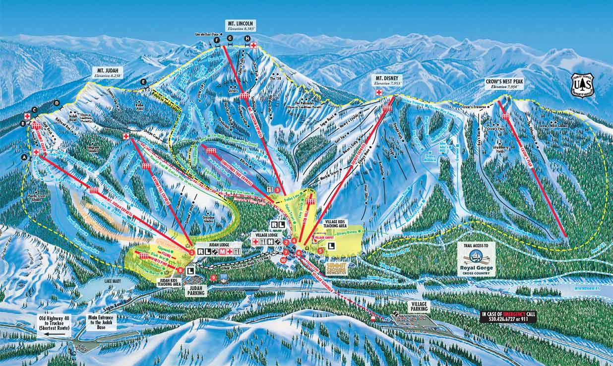 Sugar Bowl Trail Map showing lifts and runs.
