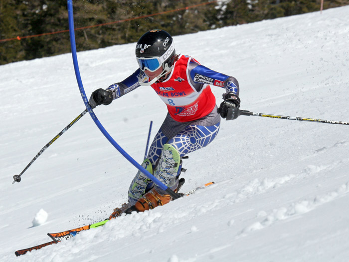 Sugar Bowl Ski Racer practicing making contact with a gate.