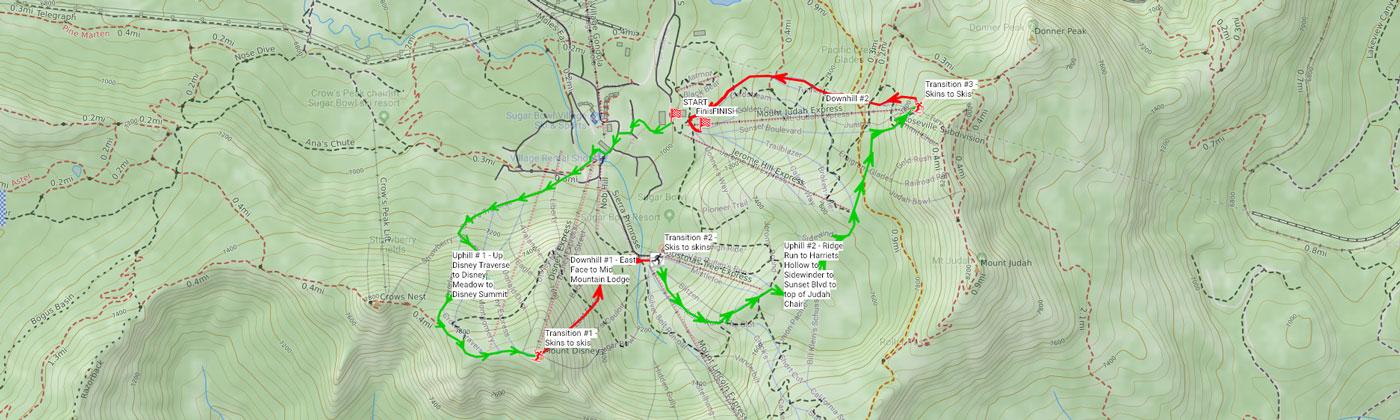 Map of the Quad Crusher course at Sugar Bowl ski resort.