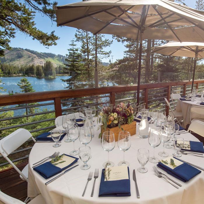 Lake Mary wedding venue at Sugar Bowl ski Resort as a summer wedding location.