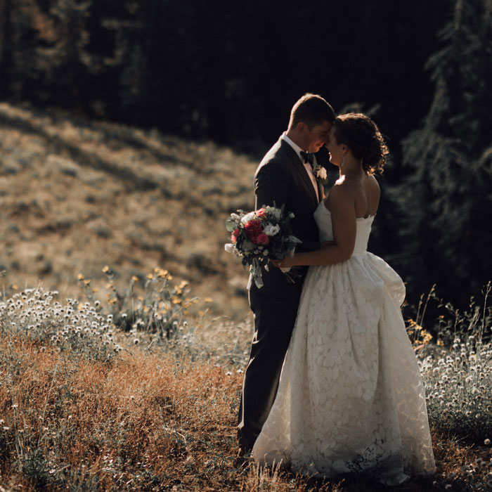 Bride and Groom in a summer mountain meadow