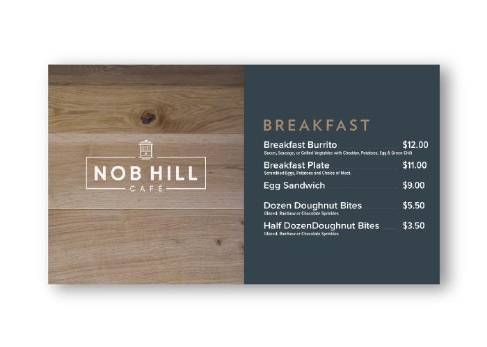 Menu items at the Nob Hill Cafe
