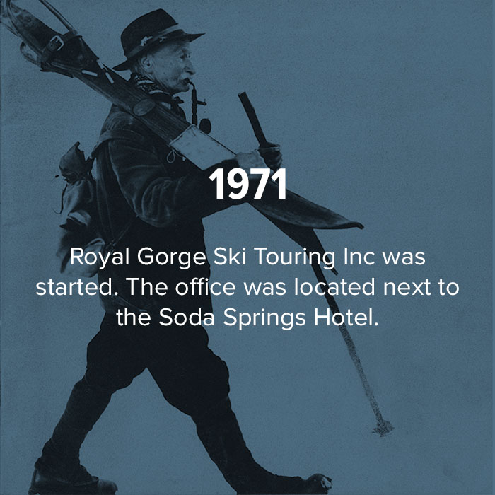 1971 Royal Gorge Ski touring inc was started next to Soda Springs Hotel.