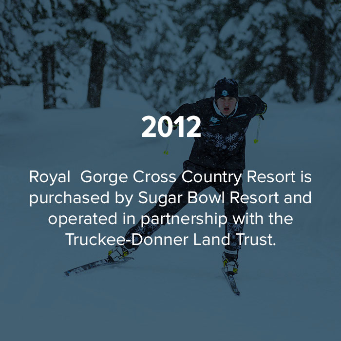 2012 Royal Gorge is purchase by Sugar Bowl resort and operated in partnership with the Truckee-Donner Land Trust.