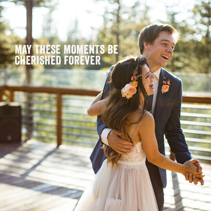 Newly wed couple enjoying their first dance at Lake Mary
