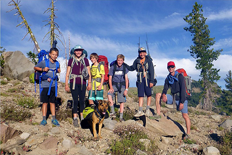 Teenage Kids Campers backpacking atop Donner Summit.