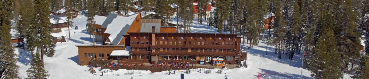 Aerial view of ski lodge at the base of the mountain at Sugar Bowl Resort